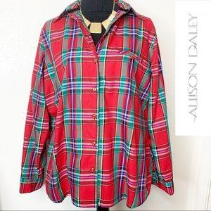 ALLISON DALEY Multi-Color Plaid Blouse / Jacket